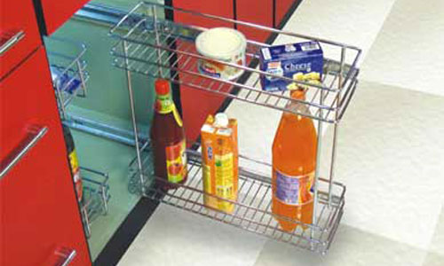 Superbe Modular Kitchen Accessory Bottle Pull Out Basket Design Ideas Kolkata